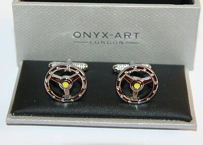 Novelty Mens Cufflinks - Car Steering Wheel + Crystals *New* Boxed • 17.75£
