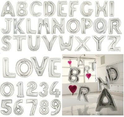 $1.45 • Buy 16  40  Silver Mylar Letter Number Balloons Party Birthday Wedding Decorations