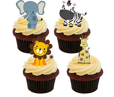 £2.49 • Buy Jungle Animals Kids Edible Cupcake Toppers - Stand-up Fairy Cake Bun Decorations