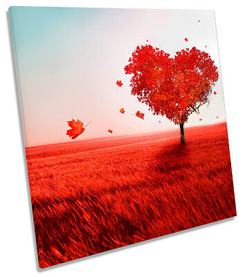 £24.99 • Buy Love Heart Tree Floral SQUARE BOX FRAMED CANVAS ART Print