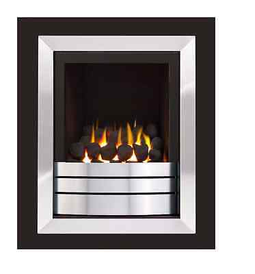 £525 • Buy Ignite Easton Portrait Black & Chrome Slide Control Inset Wall Mounted Gas Fire