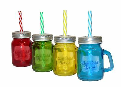 Set Of 4 Mini Drinking Jars With Screw Lid And Straw. • 14.99£