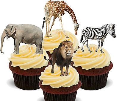 £2.49 • Buy African Safari Animals Edible Cupcake Toppers - Stand-up Cake Decorations Jungle