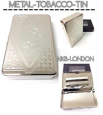 Cigarette Case Metal Chrome Roll Ups Tobacco Tin Embossed New Many Designs Tins • 5.99£