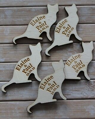 CAT SHAPE WOODEN PERSONALISED Wedding / CP Table Confetti, Scatter Favours • 12.58£
