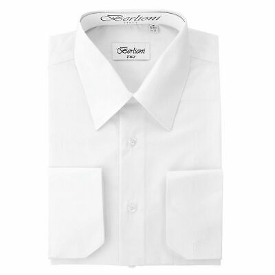 $19.95 • Buy Berlioni Italy Men's Prime French Convertible Cuff Solid Dress Shirt White