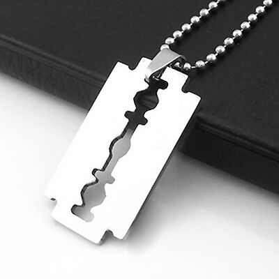 Razor Blade Pendant & Ball Chain Necklace.Unisex Stainless Steel . Dog Tag • 5.99£