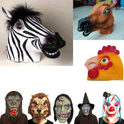 Adult Latex Full Head Overhead Animal Masquerad Masks Fancy Dress Halloween Mask • 11.99£