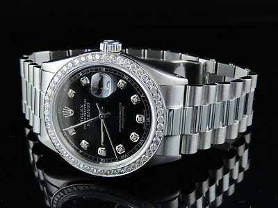 $ CDN8231.88 • Buy Mens Stainless Steel Rolex Datejust Presidential 36 MM Black Dial Watch 2.5 Ct