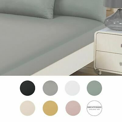 Brentfords Plain Dyed Fitted Bed Sheets Non-Iron Single Double King Superking • 6.99£
