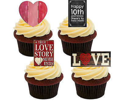 10th Anniversary Edible Cupcake Toppers, Standup Fairy Cake Decorations Shabby • 2.49£