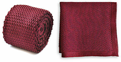 £12 • Buy Frederick Thomas Knitted Mens Tie And Pocket Square Set - Maroon Burgundy Hanky