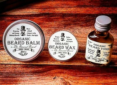 Organic Beard Oil, Beard Balm, Beard & Moustache Wax Kit By Revered Beard. • 10.99£