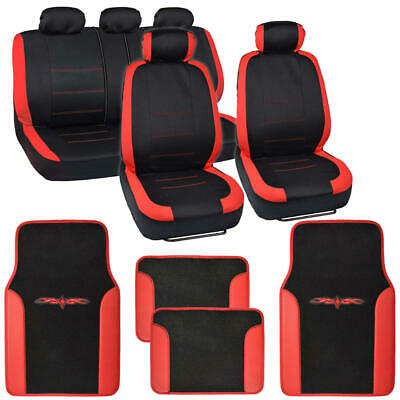 $39.99 • Buy 13pc Seat Covers & Floor Mats For Car Black/Red W/ Vinyl Trim Mats  Venice