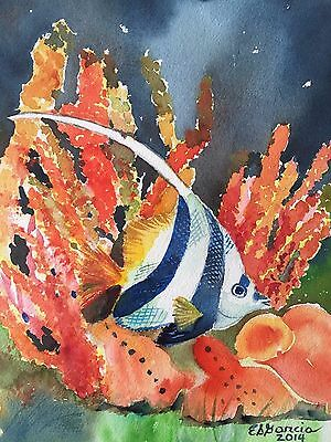 $ CDN126.07 • Buy ANGEL FISH - Asian Philippine Art Watercolor Painting By Esther Garcia 10 X12