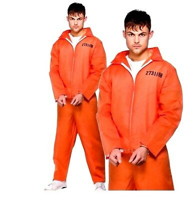 Adult ORANGE CONVICT Inmate Prisoner Fancy Dress Costume Mens Jail Boiler Suit • 15.80£
