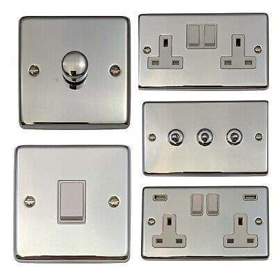 Polished Chrome CCW Light Switches, Plug Sockets, Dimmers, Cooker, Fuse, TV, BT • 13.50£
