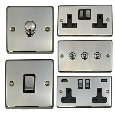 Polished Chrome CC3 Light Switches, Plug Sockets, Dimmers, Cooker, Fuse, TV, BT • 14.95£