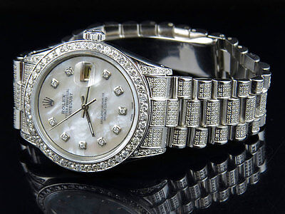 $ CDN9930.53 • Buy Mens Stainless Steel Rolex Datejust Presidential 36 MM Mother Pearl Watch 6.9 Ct