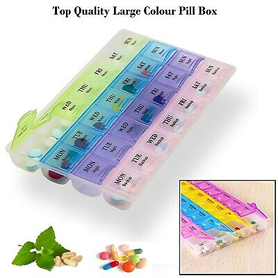 Large Monthly Weekly Daily Colour Pill Box Organiser Tablet Medicine Dispenser • 2.95£