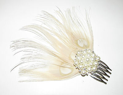 Ivory Cream Silver Pearl Peacock Feather Hair Comb Fascinator 1920s Bridal A92 • 9.95£