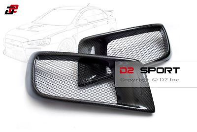 $169.99 • Buy Carbon Fiber Dual Air Intake R Style Front Bumper Ducts Fits Evolution X EVO 10