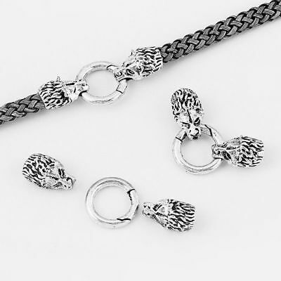2 Sets Antique Silver Wolf Bracelet End Cap & Spring Clasp For 8mm Leather Cord • 4.29£
