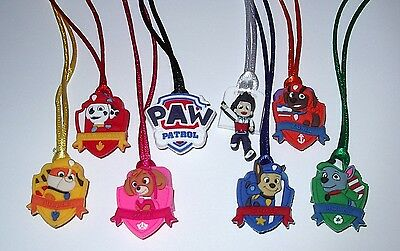 $6.99 • Buy 6 Paw Patrol Pendant Necklace On Color Cord Party Favors Prize Goody Bag Gift