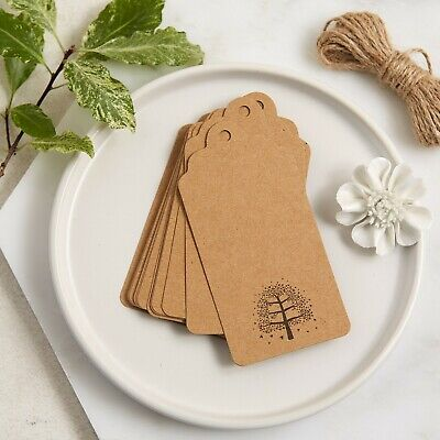 £6.99 • Buy 25 Kraft Memory Tree Message Tags - Funeral, Condolence Book, Gift Tags