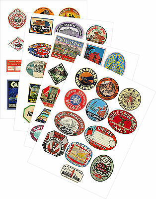 $ CDN8.20 • Buy Vintage Style Travel Suitcase Luggage Labels Set Of 12 Vinyl Stickers Multi