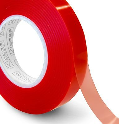 £3.25 • Buy 50 Metre Transparent Double Sided Polyester Tape With Red MOPP Liner