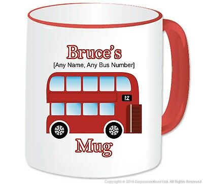 Personalised London Red Bus Double Decker Mug Novelty Bus Driver Gift Souvenir • 10.29£