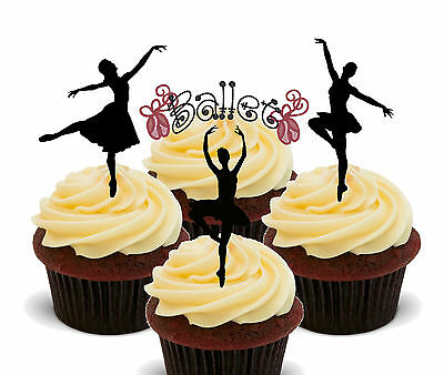 Ballet Dancing Ballerina Silhouettes Edible Cup Cake Toppers Standup Decorations • 2.49£