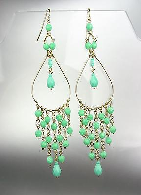 £12.45 • Buy GORGEOUS Turquoise Crystals Gold Chandelier 4  Long Dangle Earrings