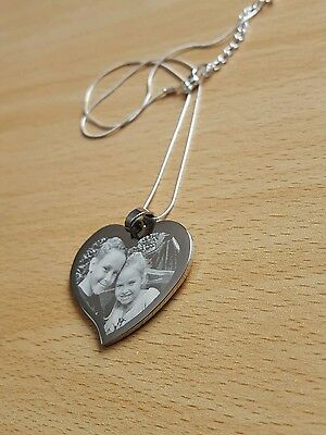 Personalised Photo/Text Engraved Heart Necklace & Pendant Wedding Birthday Gift. • 14.50£