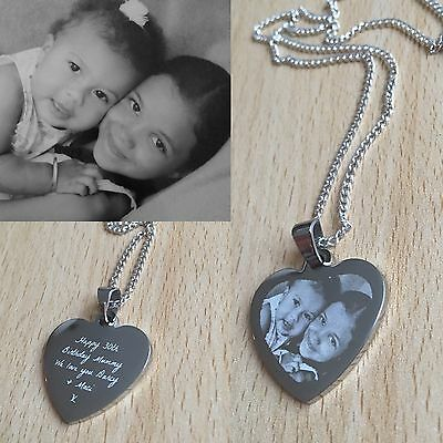 Personalised Photo/Text Engraved Small Heart  Pendant -  Wedding Birthday Gift • 13.99£