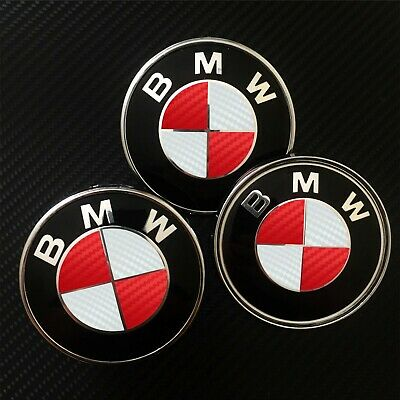 £7.25 • Buy White & Red CARBON Overlay Roundel Decal - BMW BADGE EMBLEMS Rims Hood Trunk