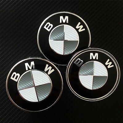 £7.35 • Buy White & Gray CARBON Overlay Decal BMW BADGE ROUNDEL EMBLEMS Rims Hood Trunk