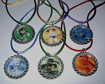 $5.99 • Buy 6 Lego Ninjago Necklace With Matching Color Cords Birthday Party Favors