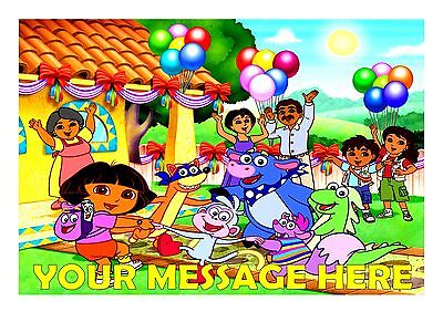 Dora's Birthday Party  Cake Topper A4  Edible Iced Icing Frosting Personalised • 4£