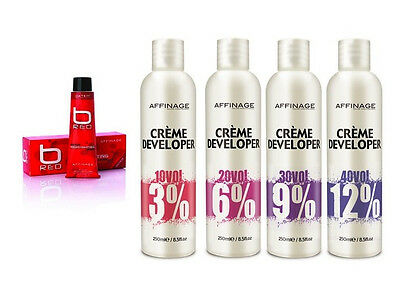 AFFINAGE B RED Permanent Hair Colour RED+250ML Developer/Peroxide -3% 6% 9% 12% • 14.95£