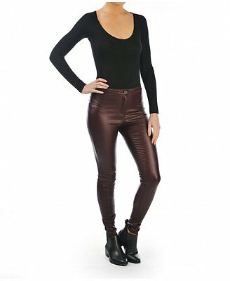 Parisian High Waisted Faux Leather Wet Look Skinny Plum Women's Jeans Trousers • 15.99£