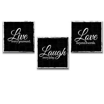 $47.93 • Buy Wall26- Live Laugh Love- Canvas Wall Art Decor- Beautiful Quote- Black And White