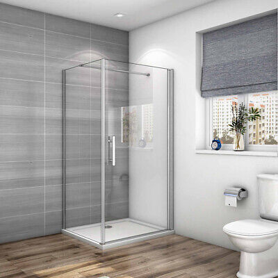 Frameless Pivot Shower Enclosure Glass Door Screen Cubicle Side Panel Stone Tray • 158.65£
