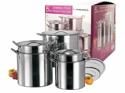£99.99 • Buy New 5 Pc Stainless Steel Large Cooking 5pc Catering Stock Pots With Handles Lids
