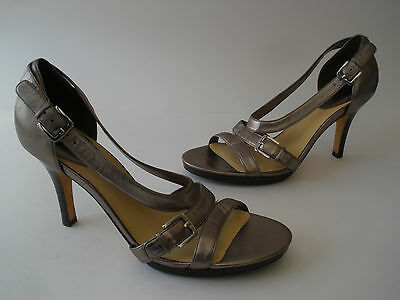COLE HAAN PEWTER METALLIC LEATHER 3 1/2  HEELS Size US 10  HOT SEXY $190 • 47.03£
