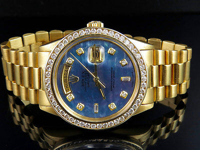 $ CDN17544.79 • Buy 18K Mens Yellow Gold Rolex President Day-Date 36MM Tahitian Diamond Watch 3.15CT