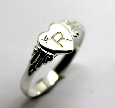 AU72.95 • Buy  Sterling Silver 925 Heart Signet Ring Choose Your Size & Gemstone & 1 Initial