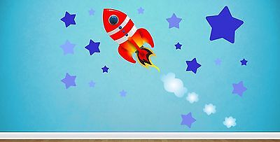 Childrens Rocket Ship Space & Stars - Wall Art Stickers Decals Spaceship Sky • 6.95£