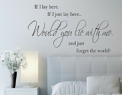 If I Lay Here, If I Just Lay Here... Vinyl Wall Decals Lettering Quotes Lyrics • 26.85£